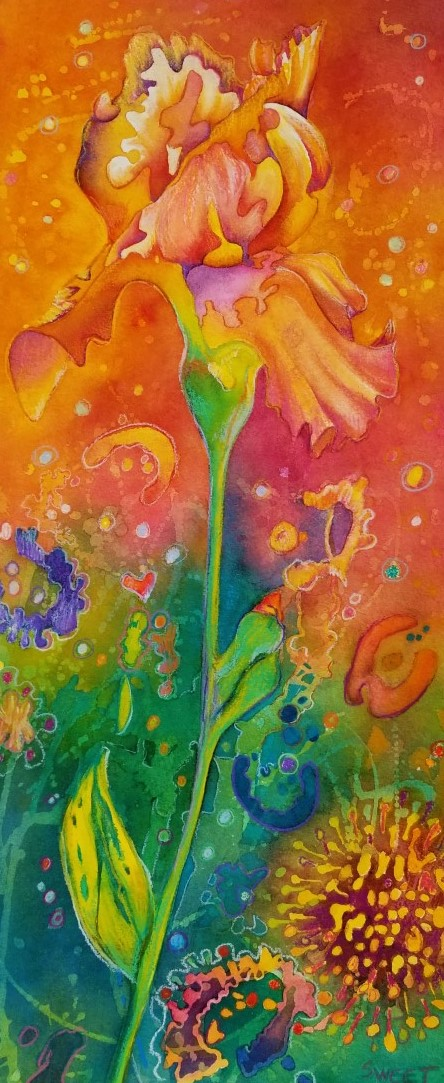 """Iris in the time of Covid II ~ Watercolor and  colored pencil  ~ 11"""" x 22"""" ~ 475.00 framed"""