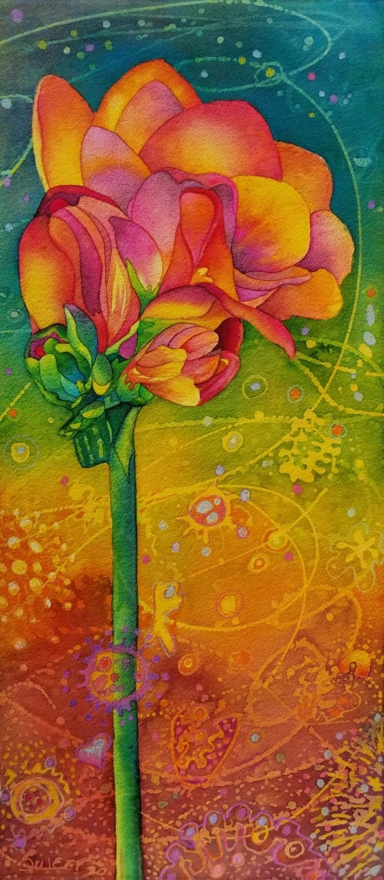 """Freesia in the Time of Covid III  ~ Watercolor and pencil ~ 10"""" x 22"""" ~ SOLD"""