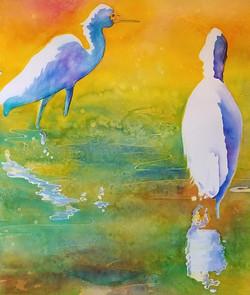 """Two Cranes ~ Watercolor ~ 20"""" x 22"""" ~ 375.00"""