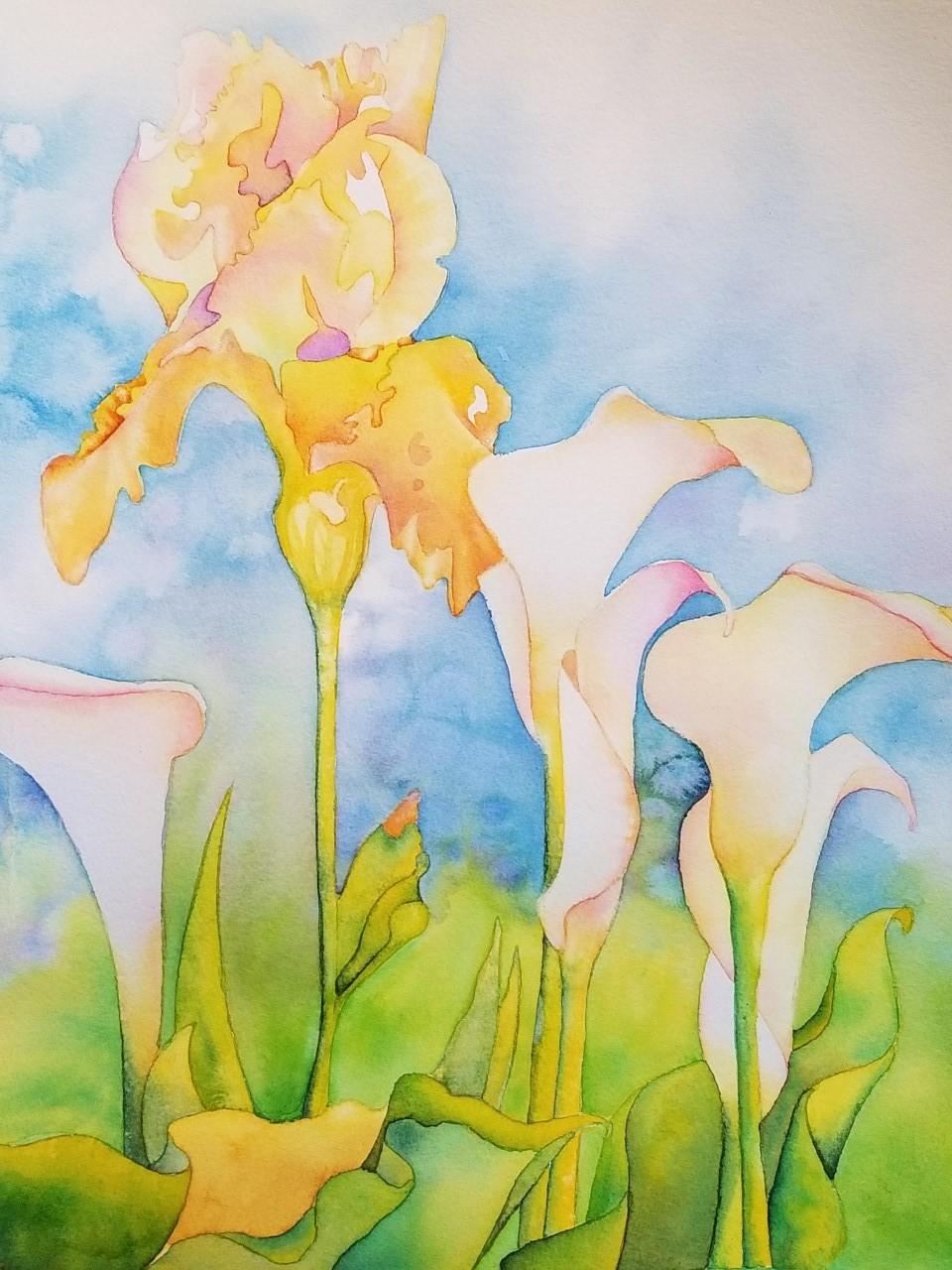 "Iris and Cala Study ~  Watercolor 19 "" x 22""  ~ 210.00"