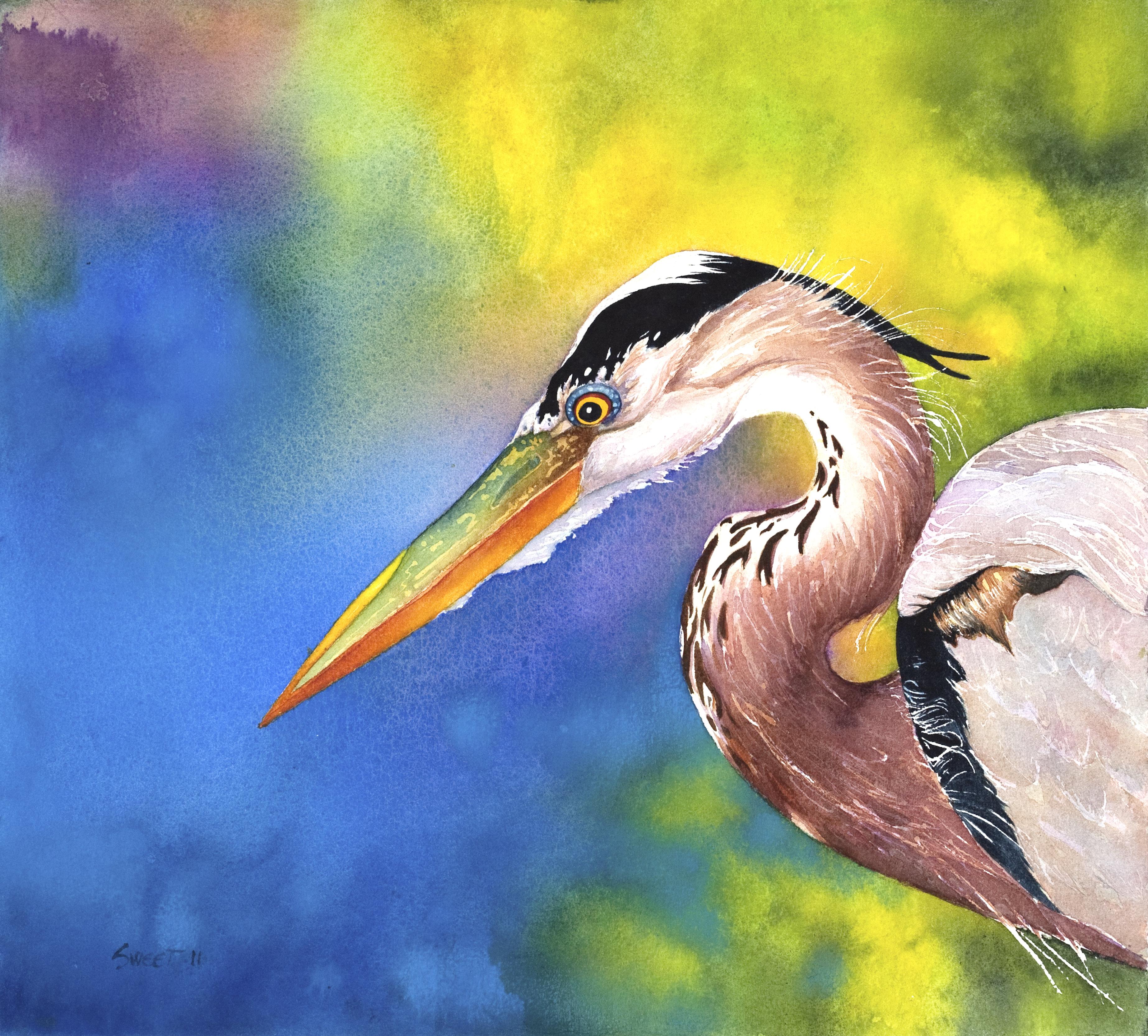 "Heron I ~ watercolor ~ 15"" x 16"" ~ 850.00"