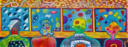 """Mind Patterns-  Social Dilemma ~ watercolor & colored pencil ~ 11 x 34"""" ~ 850.00- framed"""