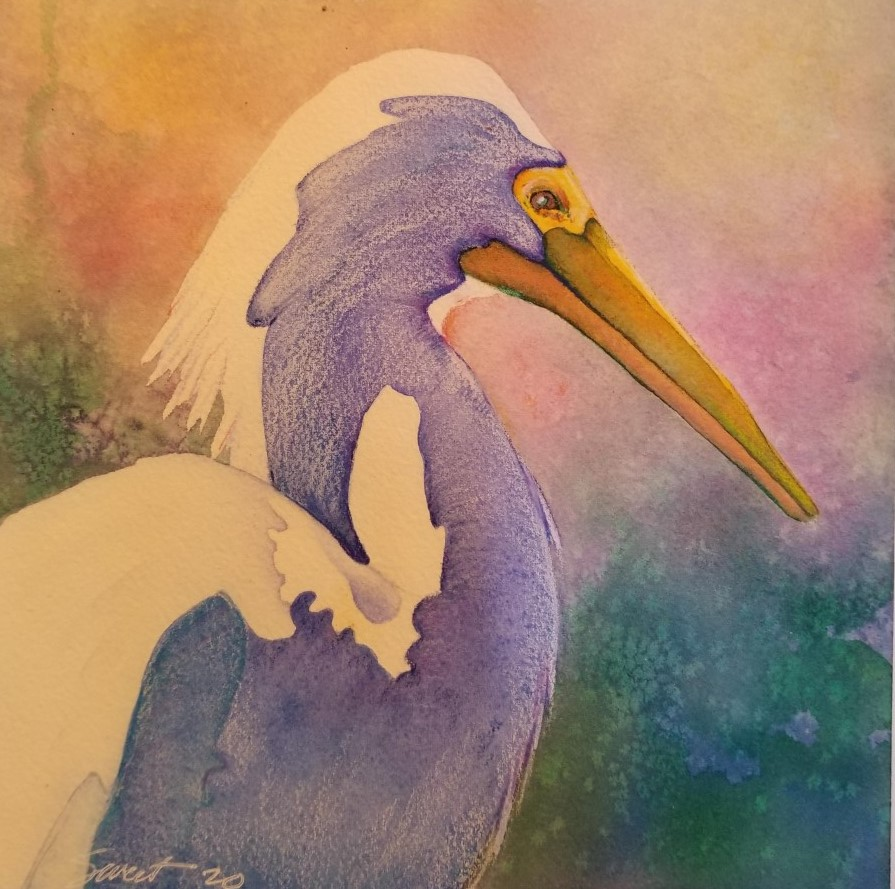 """Sunset Crane ~ Watercolor and colored pencil ~ 8' X 8"""" ~ 75.00"""