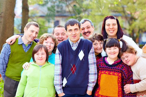 group of happy people with disabilities.