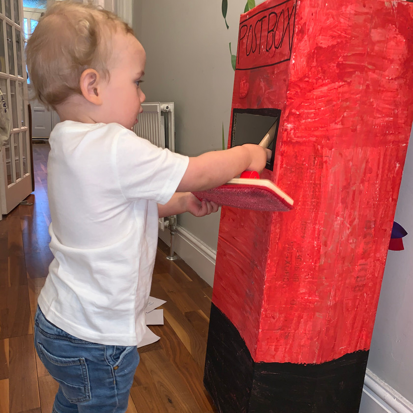 Our toddler posts anything he can find in his very own postbox