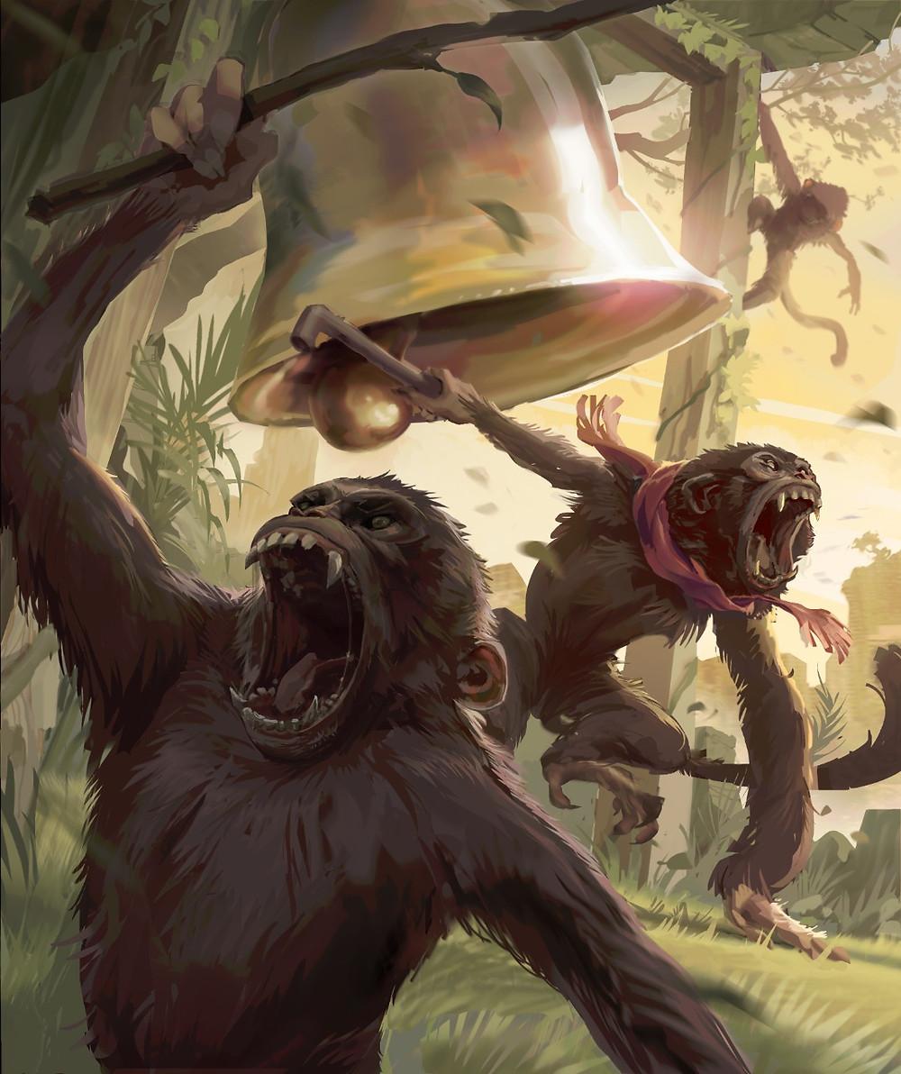 gang de macacos que rondam o centro da cidade, por Kauê Daiprai
