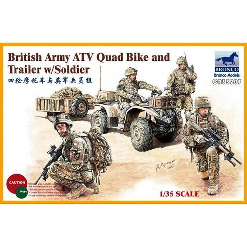British army ATV quad bike and trailer w/soldier