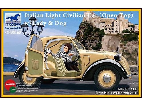 Italian light civilian car (open top), w/lady & dog