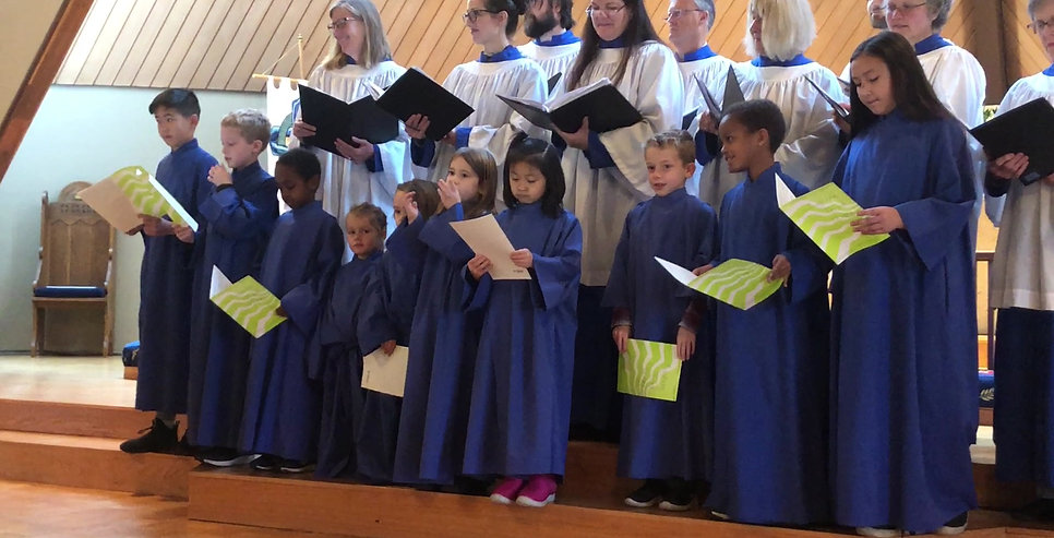 The Children's Choir and Adult Choir singing on All Saints 2019