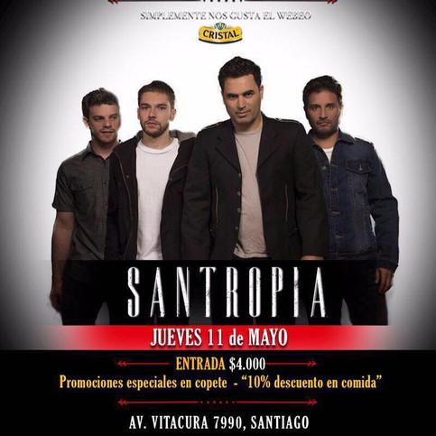 SANTROPIA retornando a CHILE y con CONCIERTO este 11 de mayo