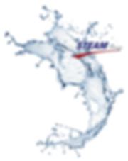 Vague d'eau explosion Logo STEAM France.