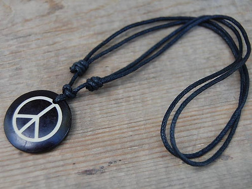 Peace Necklace Black Adjustable Cord