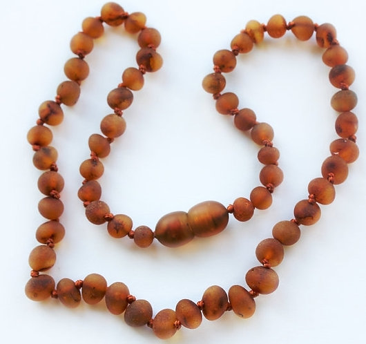 Baltic Amber Baby Teething Necklace Cognac 12""