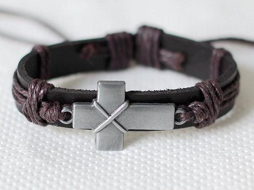 Men's Leather Cross Bracelet Adjustable