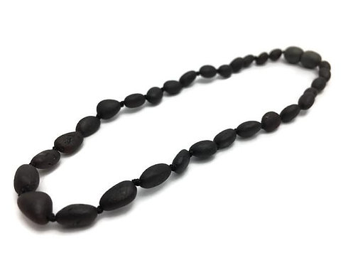 Baltic Amber Baby Teething Necklace Black Cherry 12""