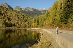 Cycling along Bear Lake