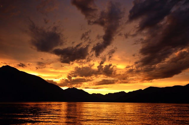 Sunset over Slocan Lake