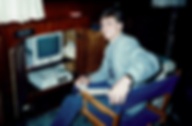 Bayne at the computer in 1987.
