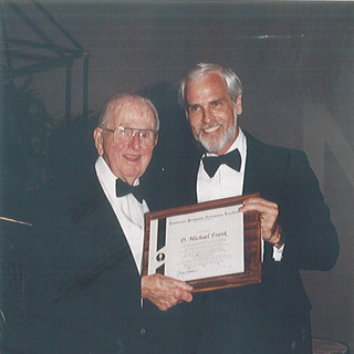 Mike Frank with Dr. Norman Vincent Peale circa 1990