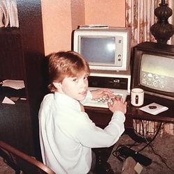 Bayne at the computer 1979