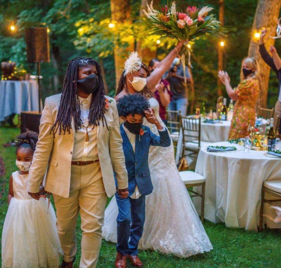 Fleur + Stitch, Fleur and Stitch, Fleur & Stitch, JNR Photography, Clear Tent, Micro Wedding, Backyard Wedding