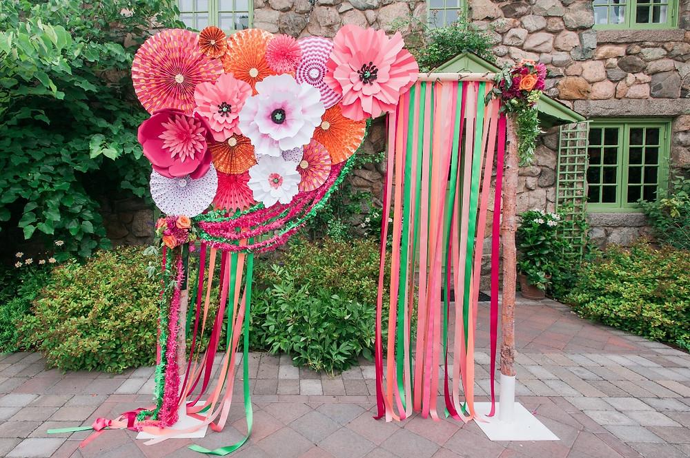 Paper flower ceremony backdrop, The Willowdale Estate Topsfield, MA