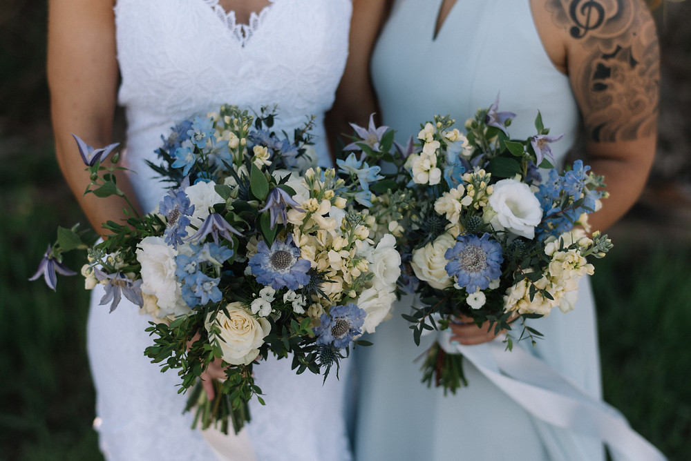 Blue wildflower bouquets, blue and white bouquet, wild flowers for a wedding