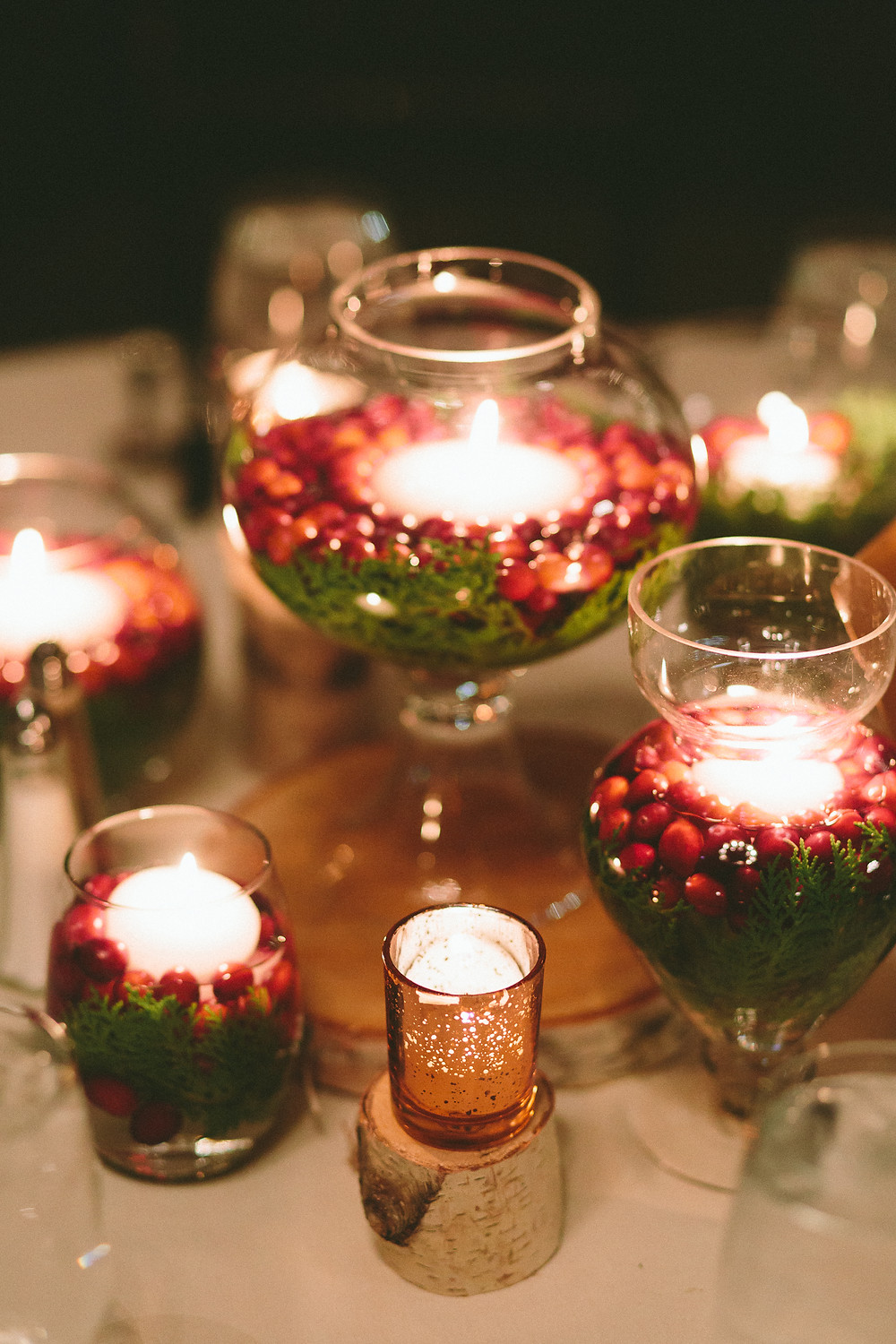 Cranberries and candles, Wedding Centerpieces, The Willowdale Estate