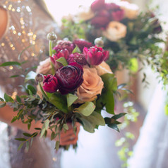 Burgundy and blush wedding bouquets, Fleur and Stitch