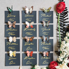 Butterfly seating cards, Fleur + Stitch, Fleur and Stitch, Fleur & Stitch, Marcela Plosker Photography