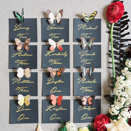 Butterfly seating cards, Fleur + Stitch, Fleur and Stitch, Fleur & Stitch, Marcela Plosker Photography
