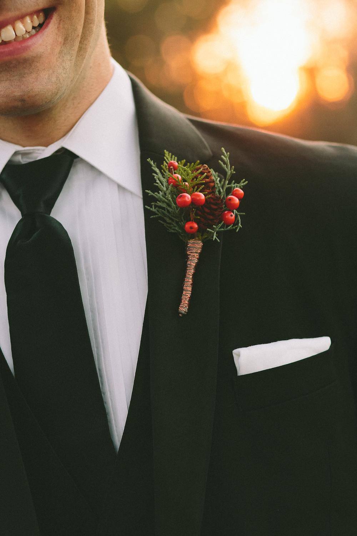 Christmas Wedding, Pinecone boutonniere