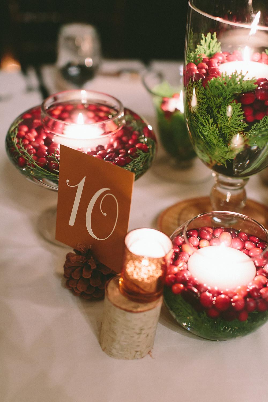 Christmas Wedding Centerpieces, Fleur + Stitch, The Willowdale Estate