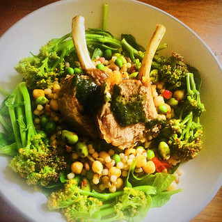 Rainbow giant cous cous and spring Sussex lamb with mint sauce