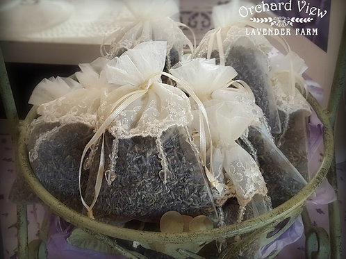 Lace Top Beaded Sheer Organza Lavender Sachet