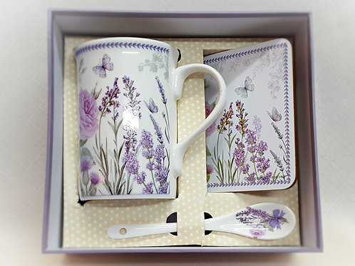 Item #213147 Lavender Mug, Coaster & Spoon Gift Set