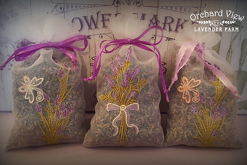 Handmade Embroidered Sheer Organza Lavender Sachet