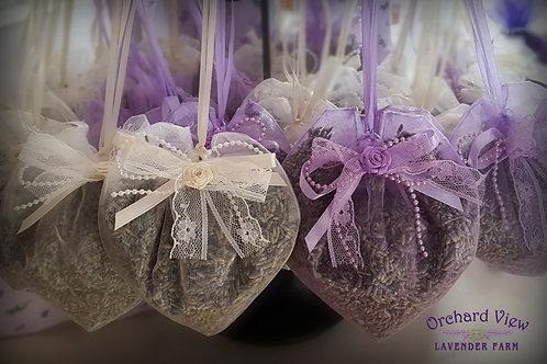 Large Heart Shaped Ivory Sheer Organza Lavender Sachet