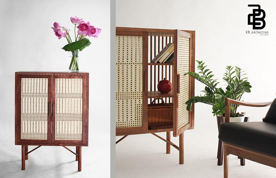 Rattan wood cabinet