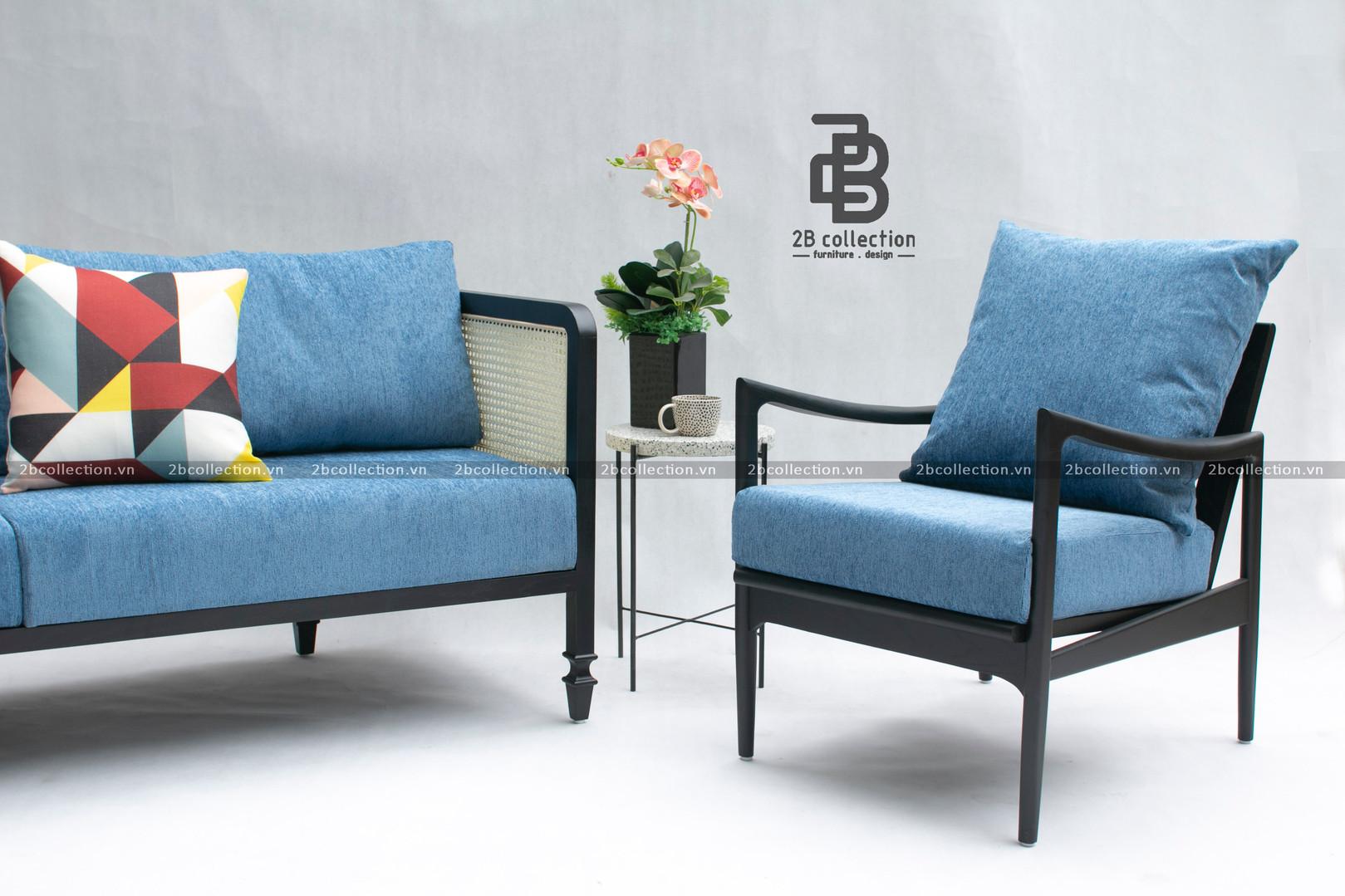 Rattan Sofa & Scandinavian Armchair