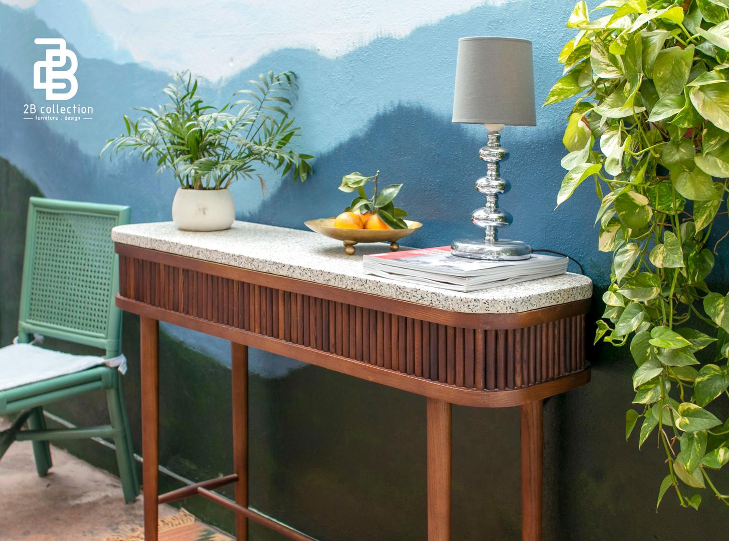 Terrazzo wood console decor