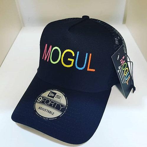 Black w/ multi-colored letters snapback MOGUL trucker hat