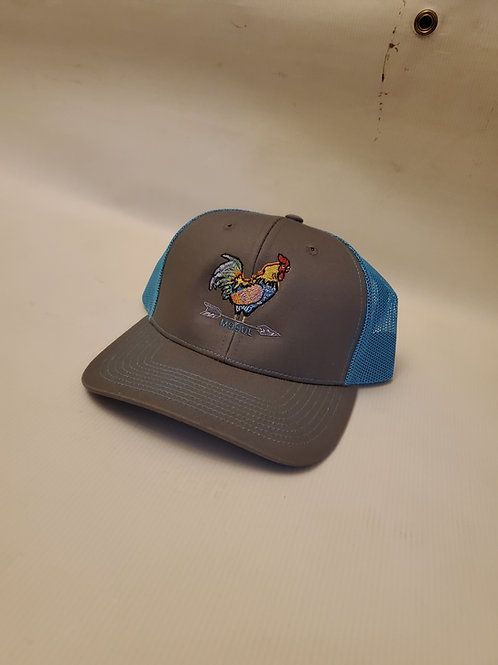 The Yard King Trucker hat neon blue/charcoal