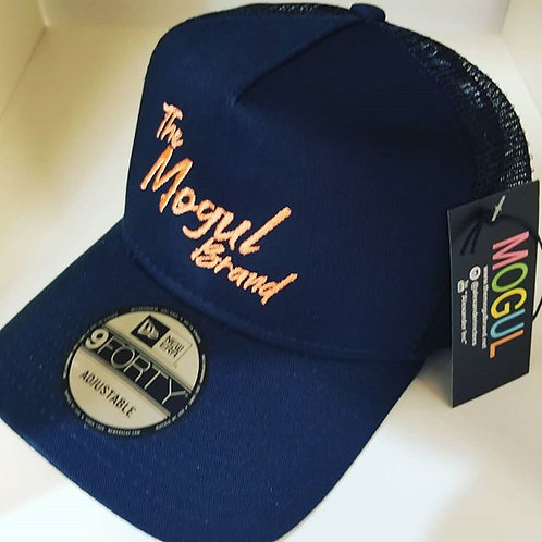Navy blue & Orange Creamcicle MOGUL trucker hat