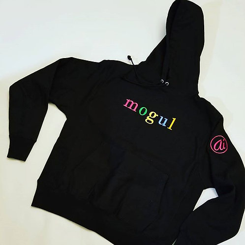 SuperHeavyweight Black MOGUL hoodie w/multi-colored letters