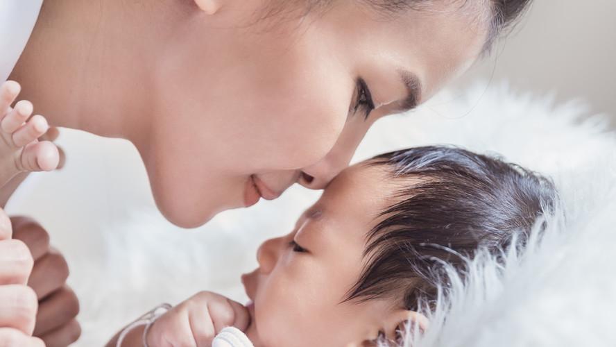 asian mum and baby