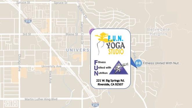 FUN Yoga Studio location, 221 W. Big Springs Rd., Riverside, CA 92507. Click for directions.