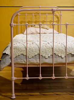 Empire Beds. Australian Made. Hampshire Cast Bed powdercoated in Dusty Pink. Children's Beds. Cast Iron Bed. Wrought Iron Bed. Kids Beds. Cast Bed reproduction. Cast Iron Beds frames