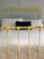 Empire Beds. Australian Made. Kensington Cast Bed powdercoated in Dulux Lemon Yellow. Children's Beds. Cast iron Beds. Wrought Iron Bed. Kids Beds. Cast Bed reproduction. Cast Iron Beds frames