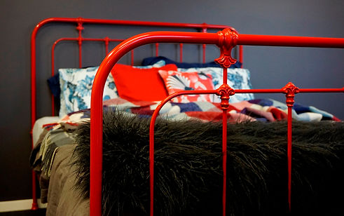 Empire Beds. Australian Made Bed. New Hampshire Cast Bed in Flame Red colour. Cast Iron Bed. Wrought Iron Bed. Cast Iron Beds reproduction. Iron Bed Frame. Cast Iron Beds Melbourne. Australian Made Beds.